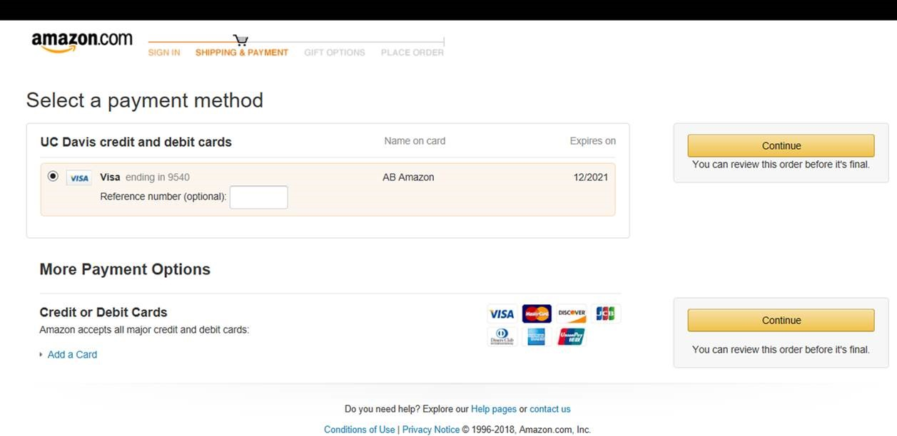 Amazon Checkout Screen