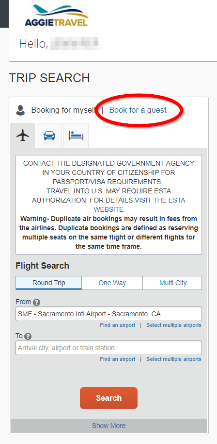 AggieTravel screenshot displaying the Trip Search fields and highlighting the book for a guest option