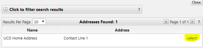 Select link in address search results