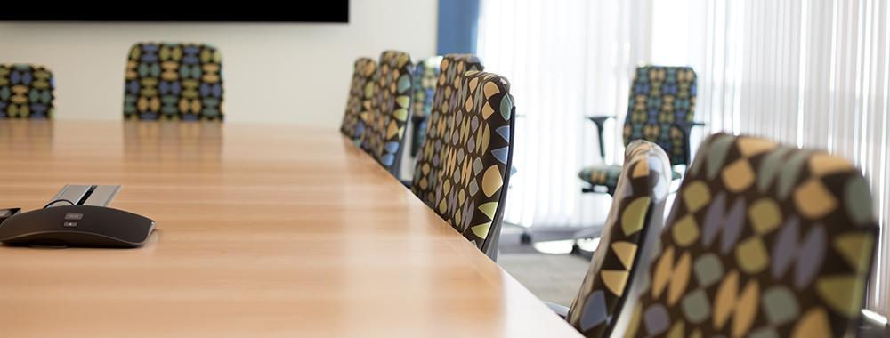 new chairs arranging around a conference table