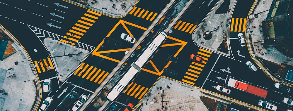 overhead shot of a busy traffic intersection