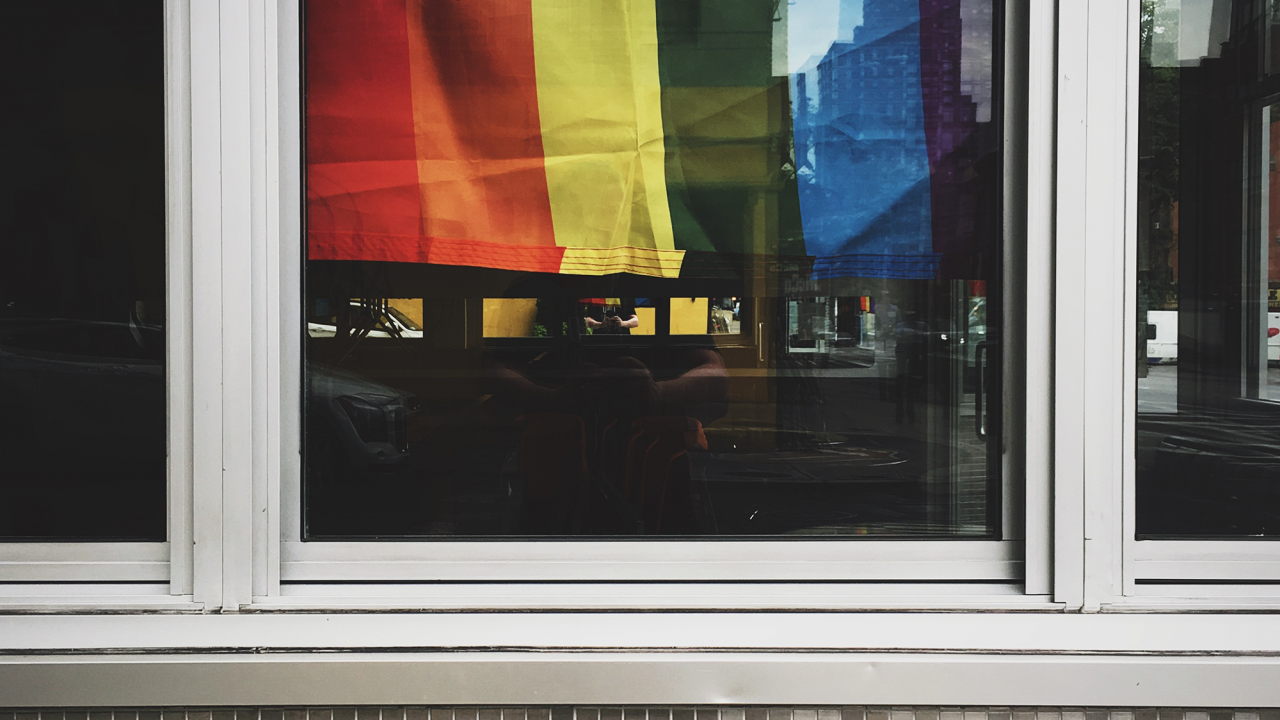 rainbow flag photographed in a window