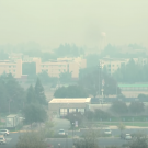 view of uc davis campus with thick smoke in the air