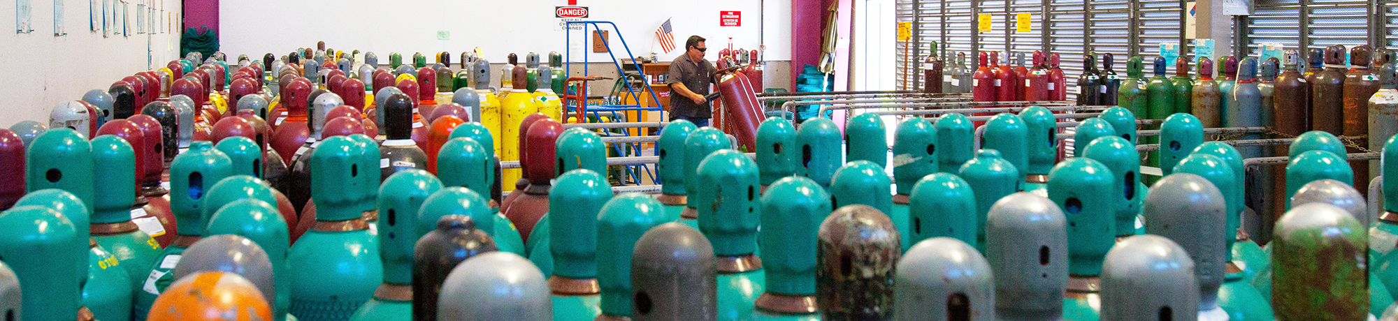 gas cylinders being stored